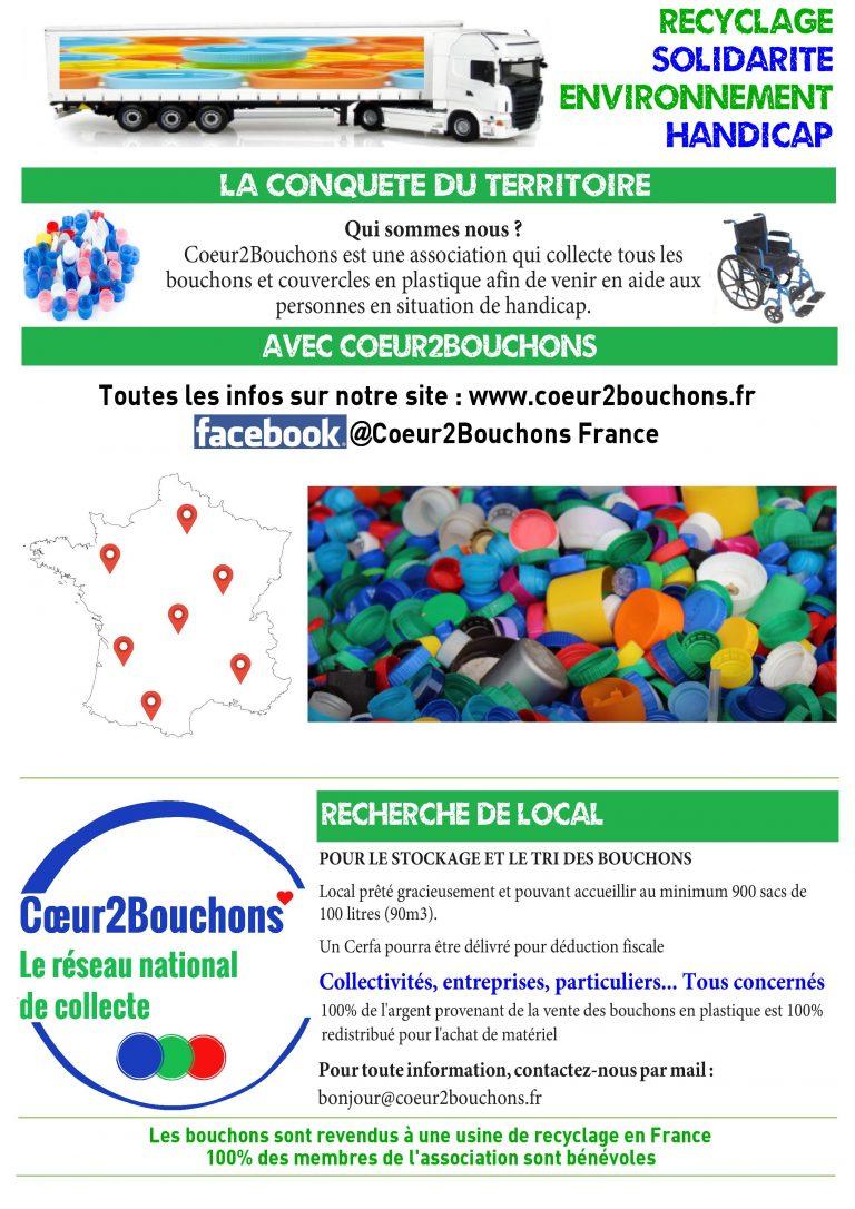 Conquête du Territoire pour plus de collecte de bouchons en plastique avec Coeur2Bouchons (Toute France)