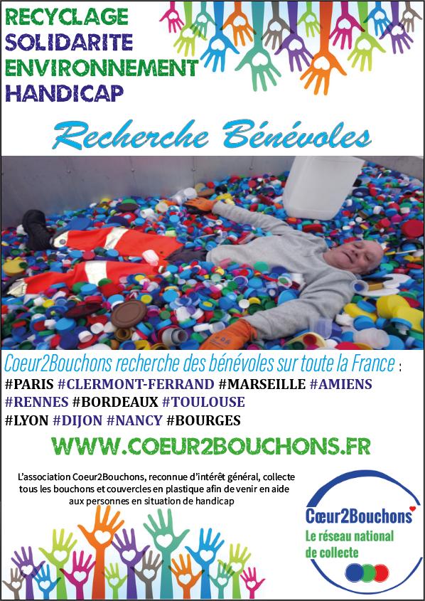 Recherche Bénévoles dans toute la France pour la collecte des bouchons et couvercles en plastique